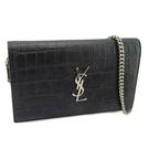 【奢華時尚】YSL 黑色鱷魚紋牛皮銀字肩背斜背兩用WOC信封包(八八成新)#25162