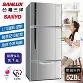 送真空保溫壺【台灣三洋 SANLUX】528公升一級三門變頻冰箱/銀色(SR-B528CV)