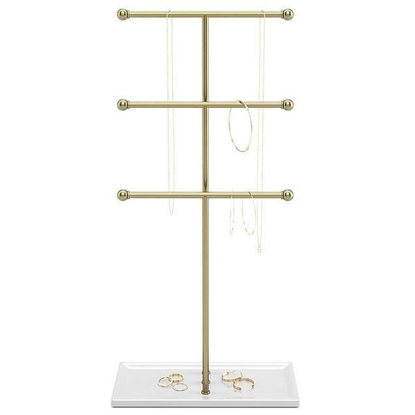 [2美國直購] Trigem 珠寶架 Hanging Jewelry Organizer, Brass/White