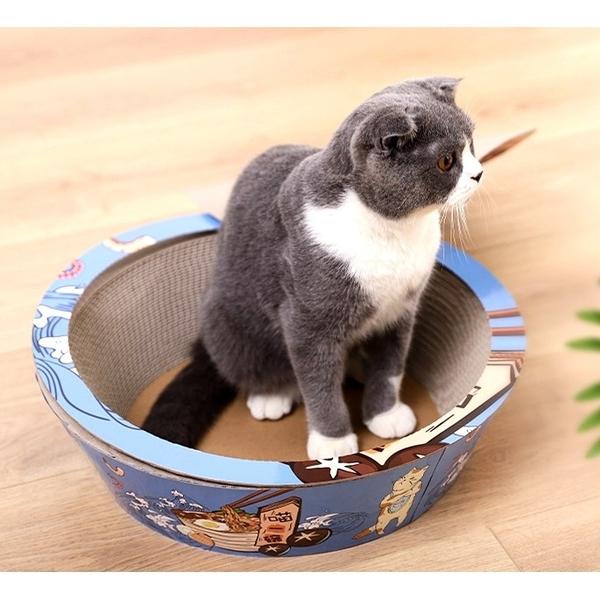 四個工作天出貨除了缺貨》伊麗喵一碗貓抓板窩磨爪瓦楞紙圓形碗型藍色M號36.5*10cm