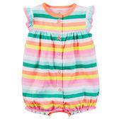 Carter's平行輸入童裝 女寶寶 蝴蝶袖前扣式兔裝 橘條紋【CA118G950】