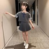 女童運動套裝 女童套裝夏裝2021新款洋氣夏款學院風兒童裙童裝小女孩兩件套 快速出貨
