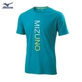 MIZUNO 男裝 上衣 短袖 T恤 慢跑 路跑 吸汗 快乾 前胸印花 綠 藍綠【運動世界】J2TA900937