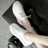 真皮上線底韓國厚底小白鞋休閒鞋女英倫風小皮鞋系帶單鞋女平底鞋   米娜小鋪