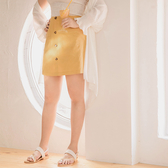 AIR SPACE PLUS 純色口袋排釦A字裙 2色