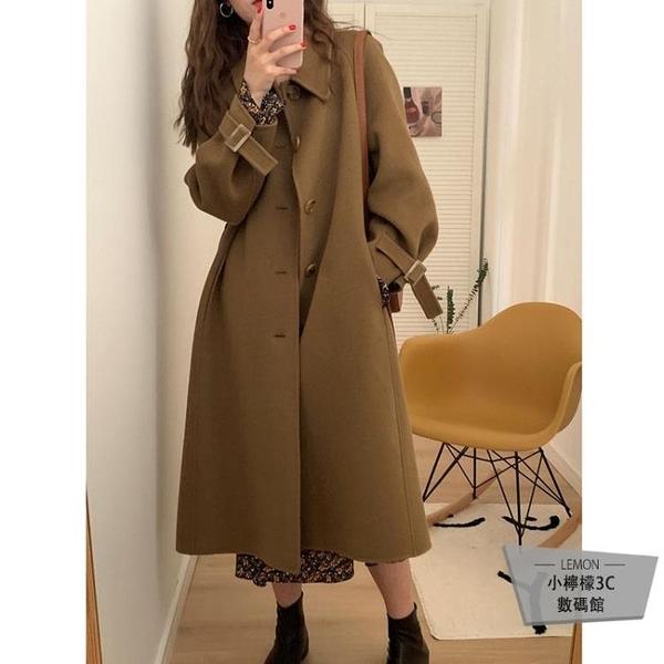 秋冬季毛呢外套中長款呢子大衣女赫本風小個子加厚【小檸檬3C數碼館】