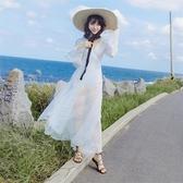 長袖洋裝-白色薄紗飄逸修身女連身裙73ye9【巴黎精品】