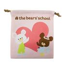 粉紅款【日本進口正版】小熊學校 帆布束口袋 收納袋 抽繩束口袋 the bear's school - 425104
