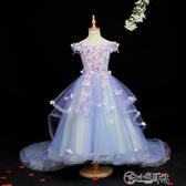 演出服 花童公主裙女童花仙子蓬蓬紗兒童走秀拖尾晚禮服主持人鋼琴演出服