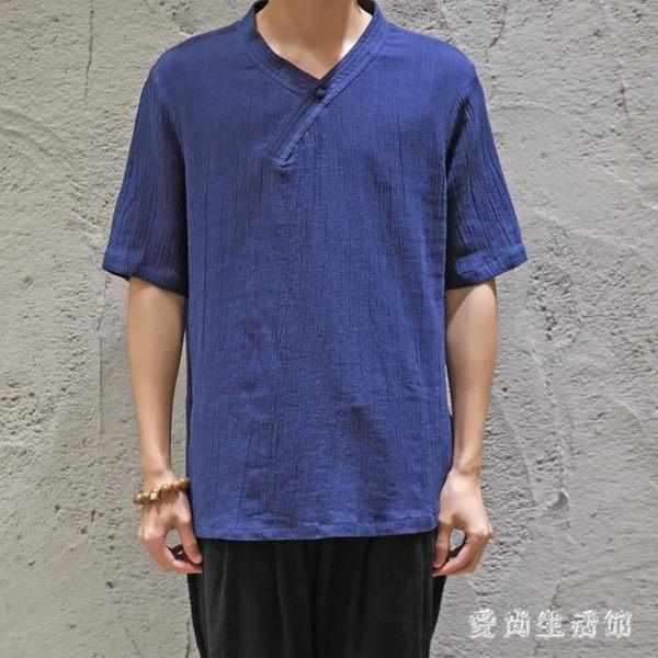 棉麻上衣夏季中國風大碼盤扣短袖T恤寬鬆復古青年圓領男裝 QX2803 『愛尚生活館』