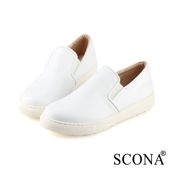 SCONA 蘇格南 全真皮 簡約舒適厚底樂福鞋 白色 7290-2