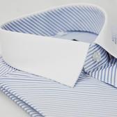 【金‧安德森】藍色斜紋白領窄版短袖襯衫