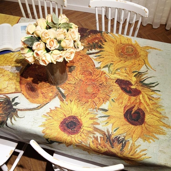 大師畫數碼印花仿棉麻桌布美式加厚布藝餐桌布茶幾布蓋布布藝