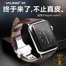 蘋果iwatch商務手錶錶帶applewatch蝴蝶扣鱷魚紋【雲木雜貨】
