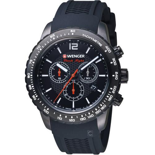 瑞士WENGER Roadster速度系列黑夜騎士三眼指針腕錶 01.0853.109