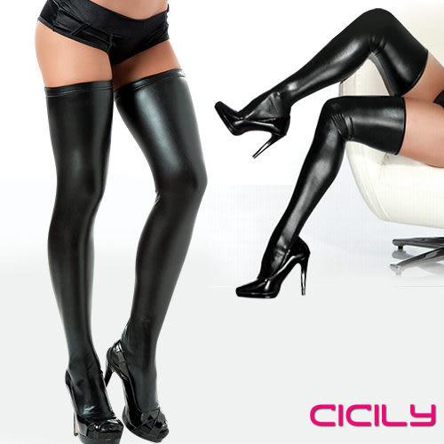 情趣商品 大腿襪 角色扮演 虐戀精品CICILY 性格女孩 漆皮塗膠性感彈力長筒襪 黑 +潤滑液60ml