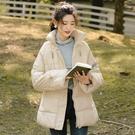 秋冬寬鬆加厚高領棉服保暖面包服中長款純色外套女 七色堇