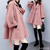雙面羊絨小香風大衣女中長款小個子呢子外套秋冬天保暖加厚兩件套XL2873【Rose中大尺碼】