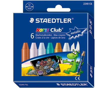 德國施德樓STAEDTLER快樂學園天然蜂蠟安全油蠟筆-金屬色*MS2240C6