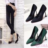 高跟鞋 2020新款10cm黑色白搭 絨面高跟鞋 貓跟磨砂細跟職業鞋女單鞋綠色
