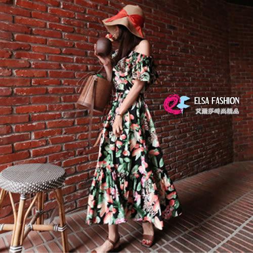 洋裝裙子平口洋裝 優雅浪漫荷葉邊花朵連身裙 艾爾莎【TGK5123】