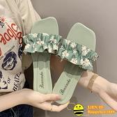 一字拖女鞋夏季外穿小雛菊海邊度假涼拖鞋【happybee】