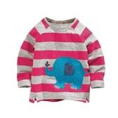 男Baby男童長袖T恤可愛橫條紋大象純棉上衣 出口歐美品質現貨