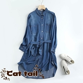 《貓尾巴》BS-0226 簡約設計翻領寬鬆腰帶天絲長袖連身裙(森林系 日系 棉麻 文青 清新)