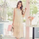 東京著衣【YOCO】韓妞最愛蕾絲壓褶蛋糕吊帶長裙-S.M.L(180424)