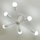 【Honey Comb】工業風放射造型吸頂六燈白色(KC1509)