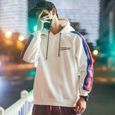 ins超火的連帽T恤男嘻哈白色加絨寬鬆連帽衫oversize情侶秋冬外套潮  一米陽光