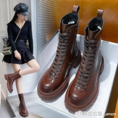 馬丁靴英倫風年新款秋冬季女鞋百搭厚底中筒女靴子顯腳小短靴