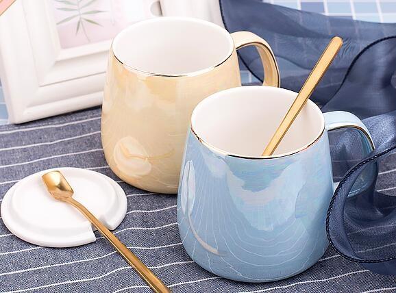 馬克杯 創意辦公室用陶瓷杯子帶蓋勺簡約潮流女馬克杯家用個性水杯咖啡杯【快速出貨國慶八折】