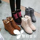 雪靴 秋冬季新款雪地靴女馬丁短靴短筒平底...