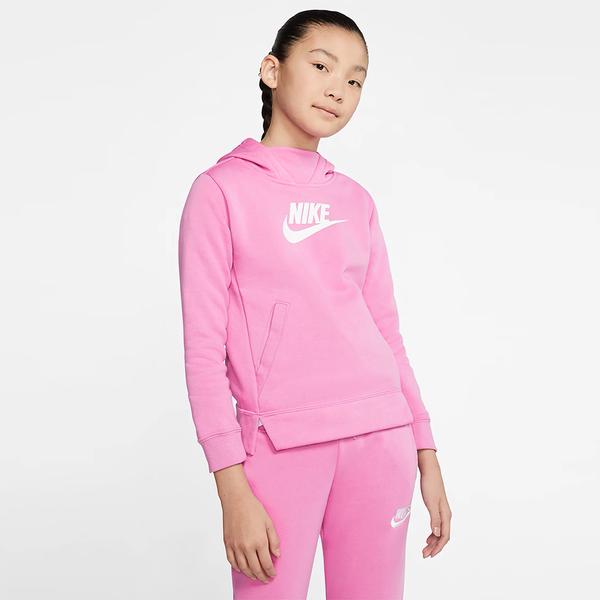 【現貨】Nike Sportswear 女裝 大童 長袖 連帽 休閒 刷毛 粉【運動世界】 BV2717-693