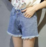 EASON SHOP(GU6743)實拍水洗淺藍色毛邊抽鬚流蘇撕邊女高腰牛仔短褲S-XL復古A字褲顯瘦女熱褲寬鬆
