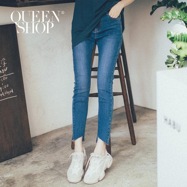 Queen Shop【04011359】基本百搭鬚邊造型牛仔褲 S/M/L/XL*現+預*