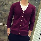 春秋季男士長袖v領純色毛衣開衫男薄款韓版學生修身純棉針織衫潮
