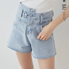 不對稱高腰牛仔鬚邊短褲M-XL號-BAi白媽媽【310382】