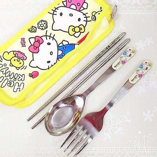 kitty筷子湯匙叉子餐具收納袋不鏽鋼4件組黃雙胞胎463547通販屋