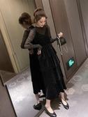 特賣閃閃連身裙2020秋冬亮閃閃仙女連身裙顯瘦打底衫 中長款蛋糕裙子套裝裙