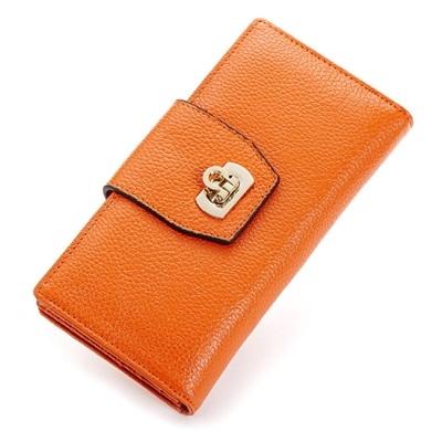 皮夾(長夾)-純色時尚經典鎖扣兩折女零錢包5色73eb78[時尚巴黎]