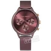 PH PAUL HEWITT / PH-E-DM-DM-53S / 簡約風格 三眼視窗 藍寶石水晶玻璃 米蘭編織不鏽鋼手錶 鍍葡萄紫 38mm