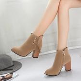 流蘇靴短靴女粗跟高跟鞋女大東秋冬新款學生馬丁靴磨砂韓版短筒靴