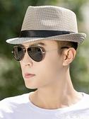 紳士帽 帽子男士夏天英倫爵士帽韓版潮小禮帽遮陽帽子中年出游禮帽男青年 夢藝
