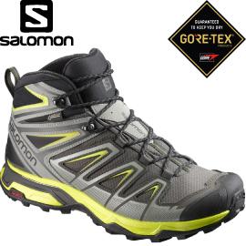 【SALOMON索羅門 男款X ULTRA 3 GORE-TEX中筒登山鞋《灰/黑/黃》】398673/登山鞋/健行鞋★滿額送