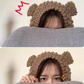 小物商店一秒變身小熊的可愛保暖針織毛線貓耳朵護耳罩 育心小館