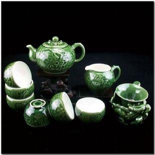 10頭活瓷龍鳳茶壺