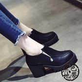 英倫復古粗跟高跟鞋百搭時尚防水臺女鞋子潮單鞋皮鞋【黑色地帶】