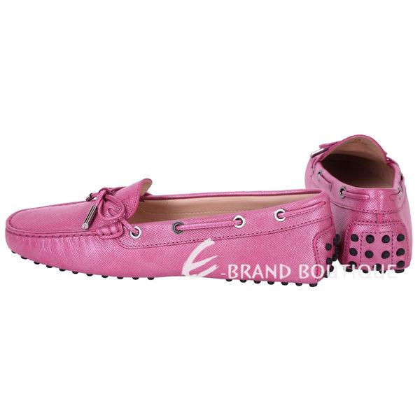 TOD'S 壓紋牛皮綁帶豆豆休閒鞋(粉色) 1620293-05